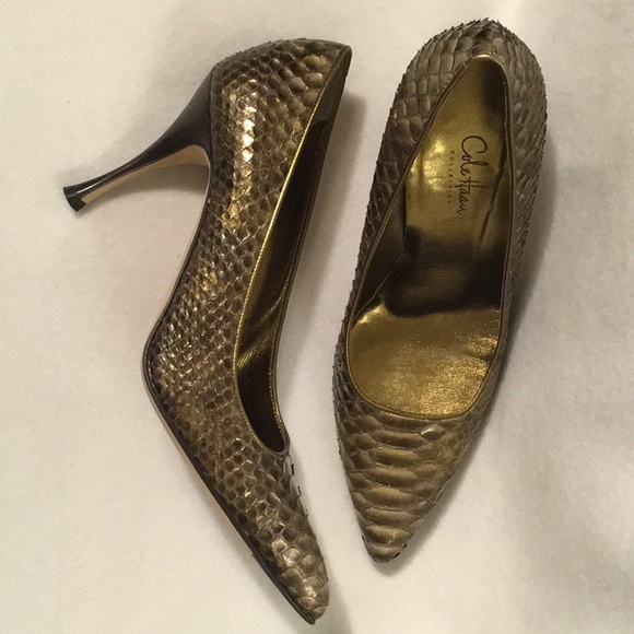 "Cole Haan Shoes - 7 Genuine Python 3.5"" Gold/Bronze Snakeskin Pumps"